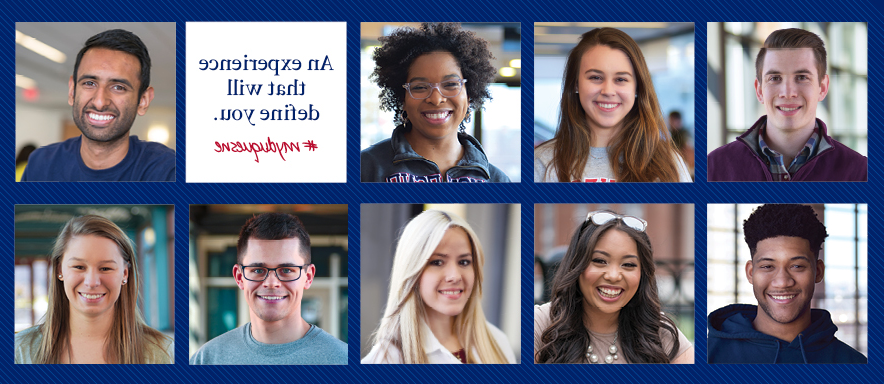 Smiling Duquesne students with text