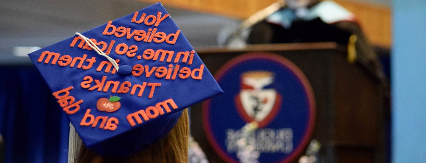 Graduation Cap that reads 'You believed in me so I can believe in them. Thanks Mom and Dad.'
